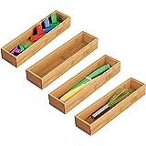 mDesign bac de rangement pour cuisine (lot de 4) – rangement tiroir rectangulaire en bambou – rangement cuisine empilable pou
