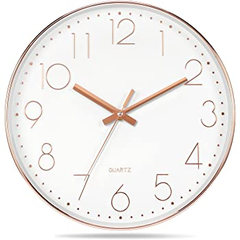 foxtop 12 inch silent non ticking large decorative wall Decorative Brass Wall Clock for Living Room decorative wall clock for living room