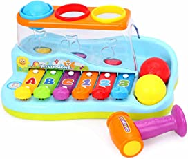 HUILE Musical Toy Xylophone Piano Pounding Bench with Balls and Hammer