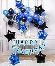 PartyWoo Bleu Noir Argent Ballon 55pcs Ballon Bleu Marine Ballon Baudruche Noir Ballon Argent Ballon Aluminium pour la Décora