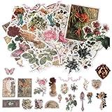 nuoshen 60 Pack d'Autocollants, Stickers Motifs Conte de Fées Plantes Fleurs Animaux Sauvages Papillons pour Scrapbooking, Or