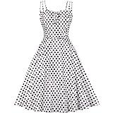 Wellwits Womens Cami Strap Yellow Polka Dots Tea Party 1950s Vintage Dress