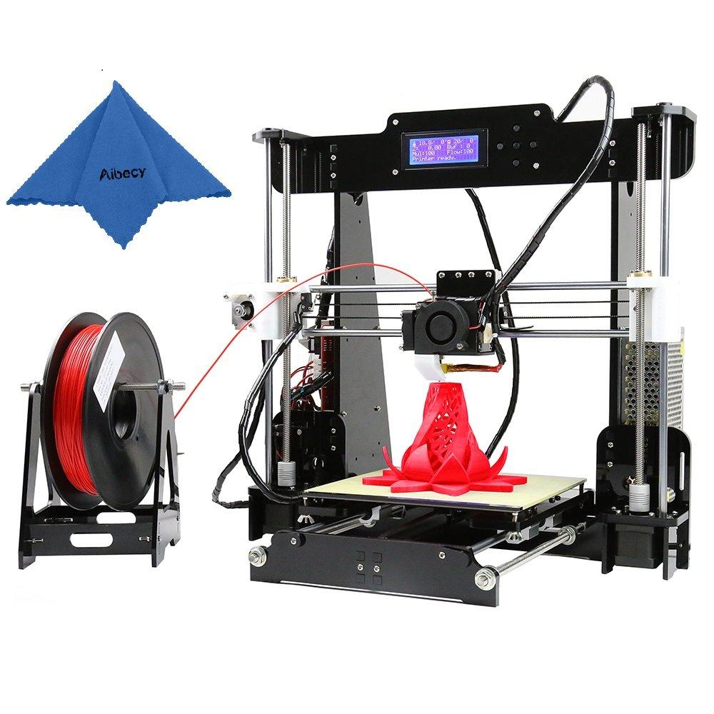 Aibecy Anet A8 Imprimante 3D de Bureau Haute Précision Améliorée Reprap DIY Kit, Cadre Acrylique,Support ABS/PLA/HIP/PP/Bois Filament avec Carte Mémoire 8GB et 1 Rouleau de Filament PLA