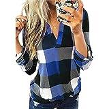 Dokotoo Femme Chemisier Carreaux Col V Tunique Blouse Haut Elegant Sexy Manches Longues Shirt Top