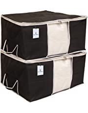 Kuber Industries 2 Piece Non Woven Underbed Storage Bag Set, Extra Large, Black