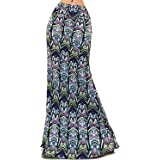 Vivicastle Women's USA Colorful Printed Fold Over Waist Long Maxi Skirt