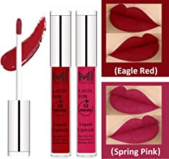 Matte Liquid Lipsticks Set by MI Fashion®|Eagle Red Liquid Lip Gloss Lipstick,Spring Pink Liquid Lipstick|Pure Matte|Water Proof|Smudge Proof|and |Long Lasting| Combo of 2 Lipsticks