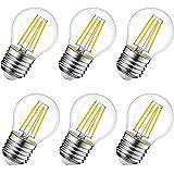 Ampoule LED Filament E27 G45, 6W Equivalente à Ampoule Halogène Vintage 60W, Blanc Chaud 600Lm 3000K, Non réglable, Lot de 6.