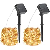 Solar Fairy Outdoor String Lights 10m 2 Pack 100 LED 8 Modes Garden Lights Waterproof Copper Wire String Lighting for Garden