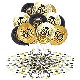 APERIL 60 Anni Palloncini Compleanno Oro Nero Palloncini di Coriandoli e 20g 60°Compleanno Coriandoli, Decorazioni per Feste