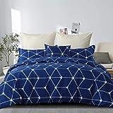 RUIKASI Housse de Couette 220 x 240 cm Bleu Housse de lit Simple à Carreaux avec Housse de Couette zippée en Microfibre et 2