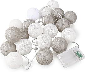 ROSENICE Wattebausch leuchtet 20 LED Lichterkette für die Dekoration (graue seriell)