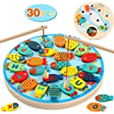 AM ANNA Magnetic Wooden Fishing Game Toy - Alphabet Fish Catching Counting Board Games Toys