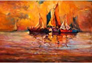 Pitaara Box Artwork of Boats & Sea D5 Canvas Painting MDF Frame 23.6 X 16Inch