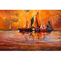 Pitaara Box Canvas Boats & Sea Painting, Multicolour, 23.6Inch x 16Inch