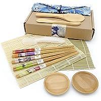J & X 9 en 1 Sushi Maker Kit   Kit De Préparation De Sushi   Sushi DIY Kit 2 Tapis en Bambou, 1 Pagaie De Riz, 1…