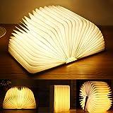 Yuanj Aurora Lampe de livre LED en bois, rechargeable par USB, lampe livre pliable à 360 °, lampe décorative/veilleuse, cadea