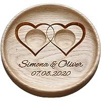 """Matrimonio fedi Cuscino anelli matrimonio rustico elegante decorazioni Cuscino per anello"""" Due cuori"""",""""Two Hearts"""""""