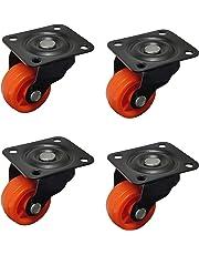 "IMPODA 4 x Small 1"" Single Wheel Puff Castor for Centre Table Furniture/80 kg Load Capacity (Black, 25 mm)"