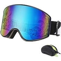 BFULL Skibrille, Anti-Fog UV400 Schutz OTG Schneebrille mit Verriegelungsknopf, Wechselobjektive Real REVO Objektiv…