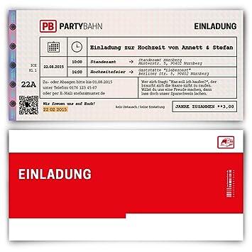 Einladungskarten Zur Hochzeit (30 Stück) Als Bahnkarte Bahn Karte ...