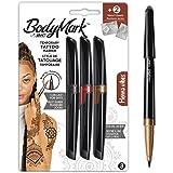 Bodymark By BIC 9925941 Tijdelijke Tattoo Markers en Stencils, Henna Vibes Kit - Verschillende kleuren, Set van 3+2
