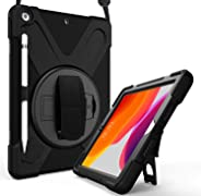 ProCase iPad 10.2 Case 2019 7th Gen iPad Case, Rugged Heavy Duty Shockproof 360 Degree Rotatable Kickstand Protective Cover Case for iPad 7th Generation 10.2 Inch 2019 (A2197 A2198 A2200) –Black