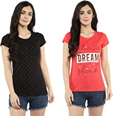 MODEVE Printed T-Shirts for Women (Pack of 2)
