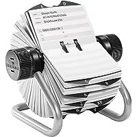 Durable 248223 Fichier Rotatif Telindex Répertoire pour 500 Fiches Pré-imprimées avec Index 25 Touches Argent Métallisé