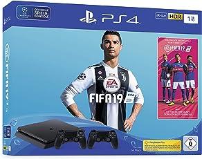 PlayStation 4 - Konsole (1TB, schwarz, slim) inkl. FIFA 19 + 2 DualShock Controller