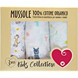 Mussole Neonato In Cotone Morbido ed Organico per Bimbi E Bebè. Ideali Come Asciugamani Copertine Lenzuolini Per Culle Carroz