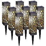 8 Pièces Lampe Solaire de Jardin, IP65 Blanc Chaud Decorative Étanche Luminaire Solaire pour Pelouse, Cour, Terrasse, Patio,
