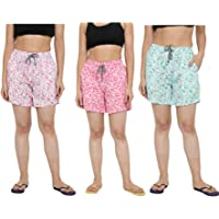 CIERGE Women's Cotton Regular Printed Shorts Multicolor Free Size (Pack of 3)