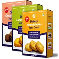 Diabexy Cookies Combo (Almond, Coconut & Chocolate) Sugar Control for Diabetes 200 gm Each (Pack of 3) Snacks Gift Pack