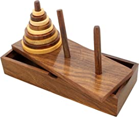 Shalinindia Handmade Wood Star Tower of Hanoi Puzzle Game Set with 9 Pieces Great for Adults and Kids Artisan Crafted in India (1.5-inchx8.5-inchx2-inch)
