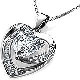 DEPHINI - Collana a forma di cuore bianco - in argento Sterling 925 - con ciondolo in cristallo di zirconia cubica - Fine Jew