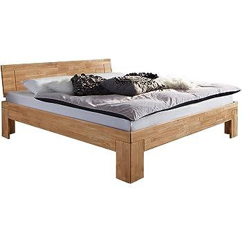 GroBartig SAM Design Schlafzimmer Bett 200x200 Cm SIENNA, Massiv Wildeiche Holz,  Geschlossenes Kopfteil