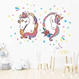 onetoze Unicorn Wall Stickers Stars Wall Decal Removable Wall Stickers for Bedroom Girls Baby Kids Room Nursery Birthday Part