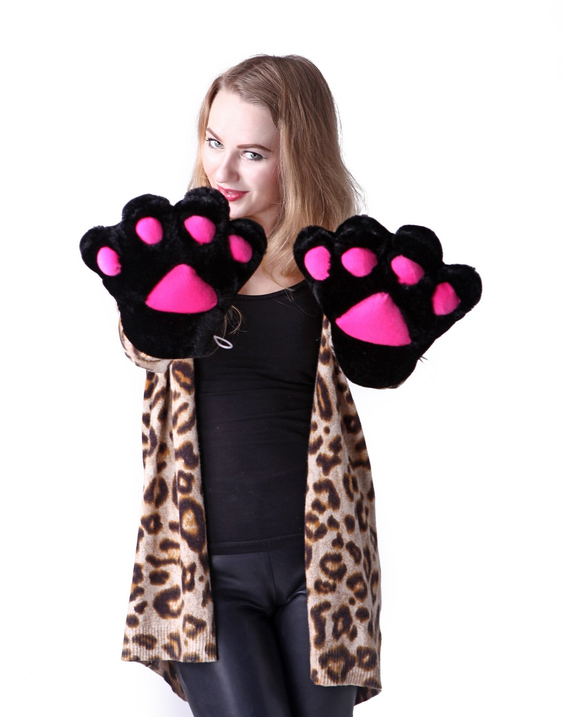 hde adult halloween costume cosplay cute soft kitty cat girl paw gloves black amazoncouk toys u0026 games