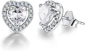 Esberry Placcatura in oro 18 carati Orecchini a forma di cuore in argento sterling 925 Orecchini a cuore con zirconi Orecchini anallergici Regalo di compleanno