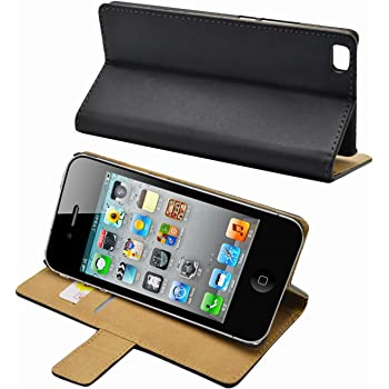 Nero Cuoio Portafoglio Custodia per Apple iPhone 4 4G 4S - Anti-graffio cover + 2 Pellicola Protettiva Schermo