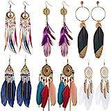 Set di 6 paia di orecchini da donna a forma di piuma in stile bohémien,Vintage Piuma Boemia Orecchini Etnici Orecchini con pi
