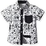 Loalirando Summer Toddler Baby Boys Casual Short SleeveHawaiian Shirts PrintedSingle Button Plaid Print 12M-6Y