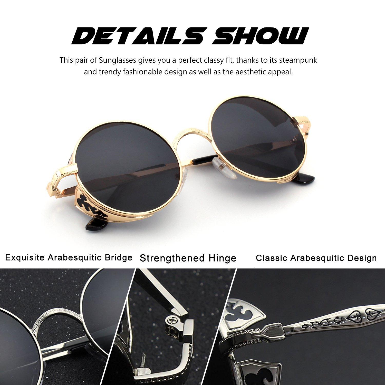 8ea992a484 CGID E71 Steampunk estilo retro inspirado círculo metálico redondo gafas de  sol polarizadas para hombres