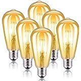 Kohree Ampoule Vintage LED E27 Ampoule Edison Rétro Lampe Filament Décorative ST64 2200K Blanc Ambré pour Maison Restaurant C