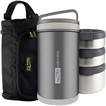 Home Puff Double Wall Vacuum Insulated Stainless Steel Lunch Box, 1.7 Litre, 3-Piece, Grey
