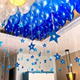 Party Propz Blue Metallic Balloons With Star Shape Hanging Decorations Items -91Pcs Boys Birthday Decoration Items/Baloons De