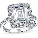 Art Deco Grande Affermazione Halo Pave Cubic Zirconia Argento 925 5CT Taglio Smeraldo Anello Di Fidanzamento Per Donne