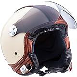 """Armor · AV-84 """"Vintage Deluxe Creme"""" (yellow) · Casque Moto Jet · Helmet Demi Jet Cruiser Scooter Chopper Retro · ECE certifié · Visor · Click-n-Secure™ Clip · Sac fourre-tout · S (55-56cm)"""