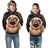 Autumn Winter 3D Space Galaxy Hoodies Boys Girl Lovely Pug Dog Animal Print Sweatshirts Kids Pullover Hoodie